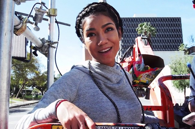 Behind the scenes of a Jhene Aiko video, 2015.