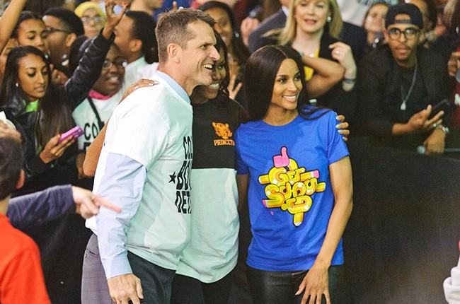 Jim Harbaugh, Michelle Obama, and Ciara