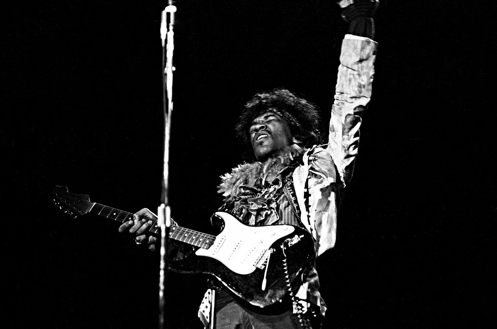 Jimi Hendrix performs at the Monterey Pop Festival on June 18, 1967 in Monterey, Calif.
