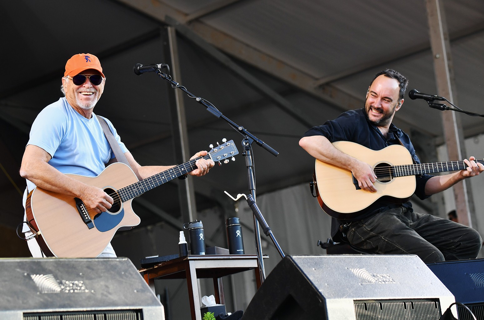 Jimmy Buffet and Dave Matthews perform onstage during day 5 of the 2017 New Orleans Jazz & Heritage Festival at Fair Grounds Race Course on May 5, 2017 in New Orleans.