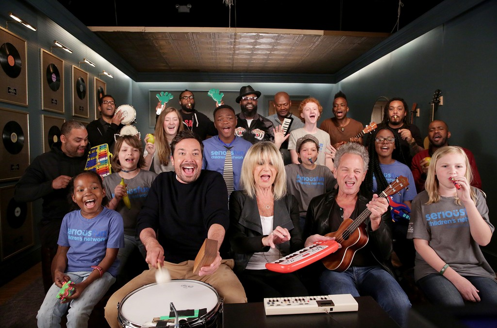 "Jimmy Fallon, Christine McVie, Lindsey Buckingham, The Roots and SeriousFun Children's Network perform ""Don't Stop"" on The Tonight Show Starring Jimmy Fallon on June 12, 2017."
