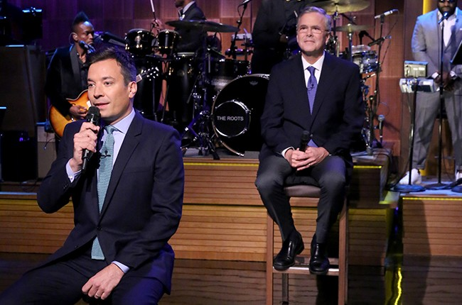 """Jimmy Fallon and Former Governor Jeb Bush """"Slow Jam the News"""" on The Tonight Show Starring Jimmy Fallon? on June 16, 2015."""