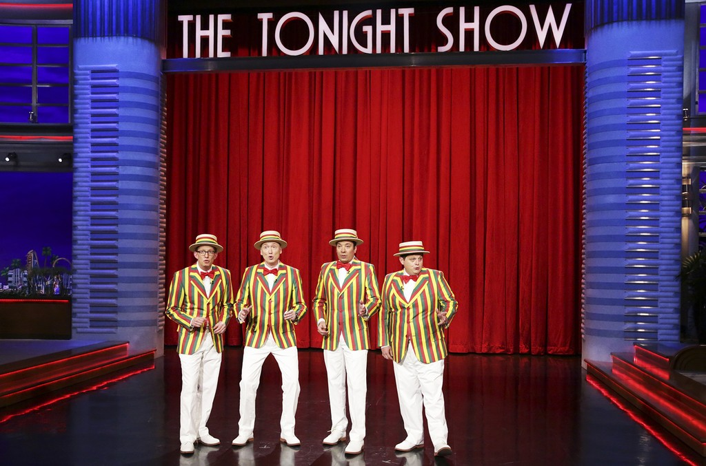 A.D. Miles, Tom Shillue, Jimmy Fallon and Chris Tartaro perform as the Ragtime Gals on The Tonight Show Starring Jimmy Fallon on April 4, 2017.
