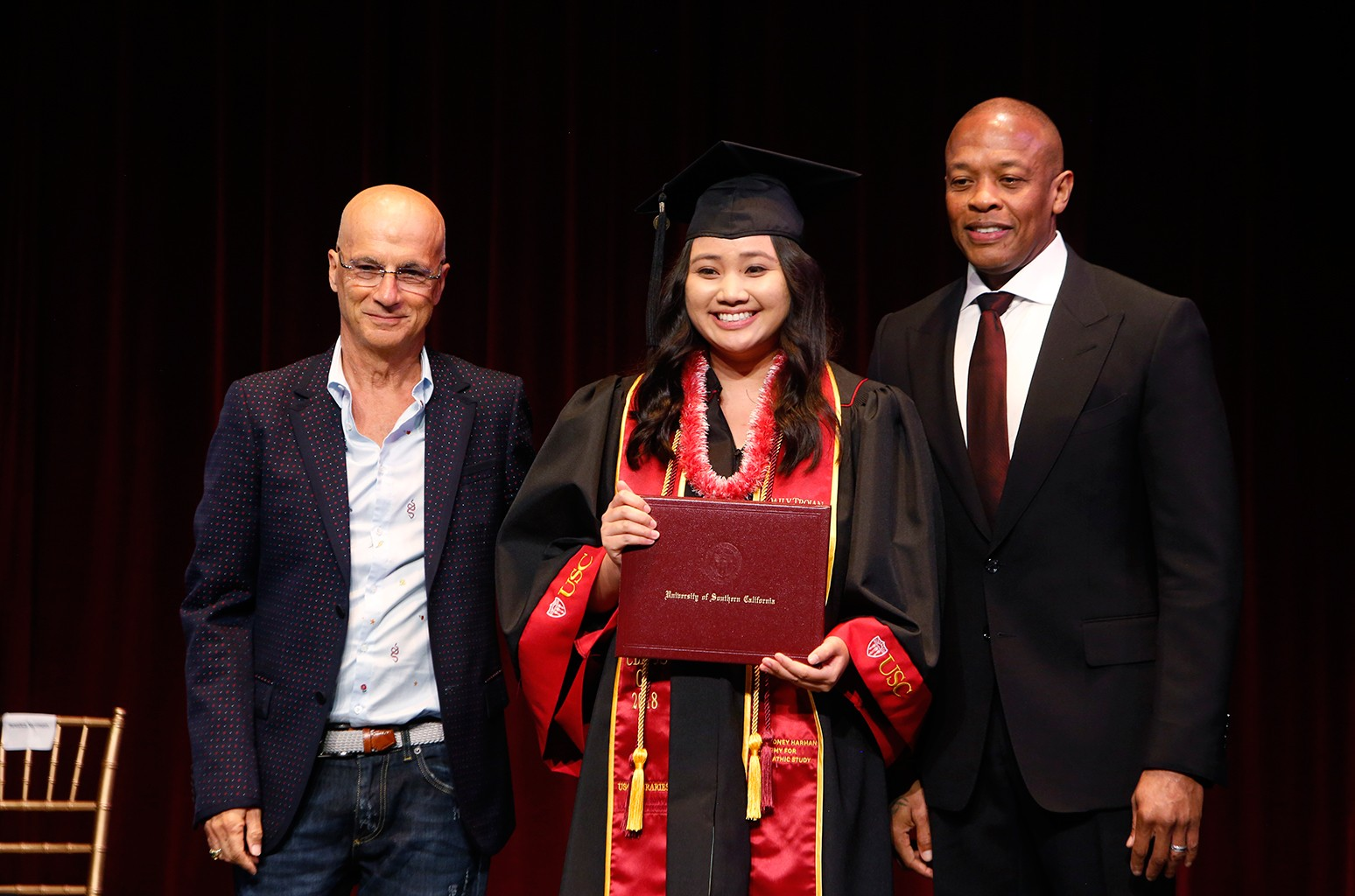 Jimmy Iovine, Dr Dre and USC grad Caitlin Tran