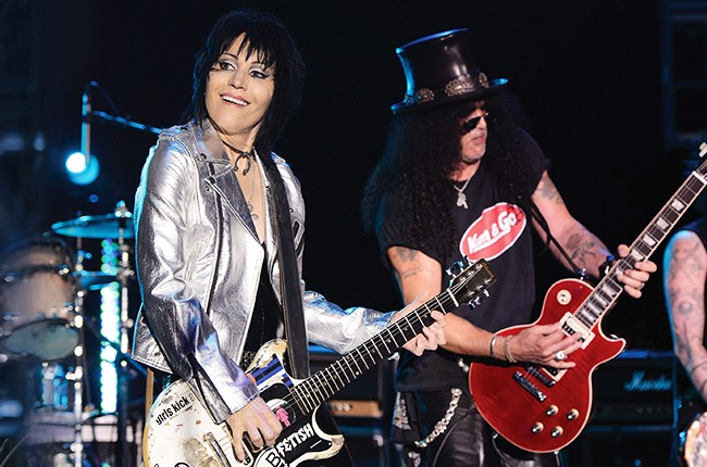 Joan Jett and Slash perform on stage at the 2014 Alternative Press Music Awards