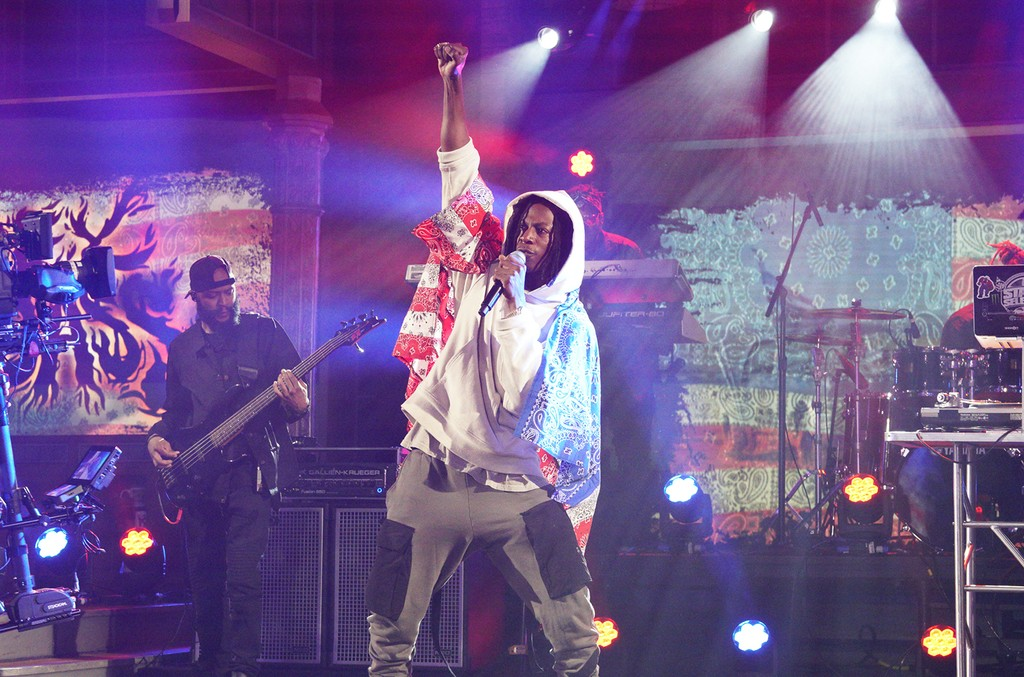 Joey Bada$$ performs on The Late Show with Stephen Colbert on April 3, 2017.