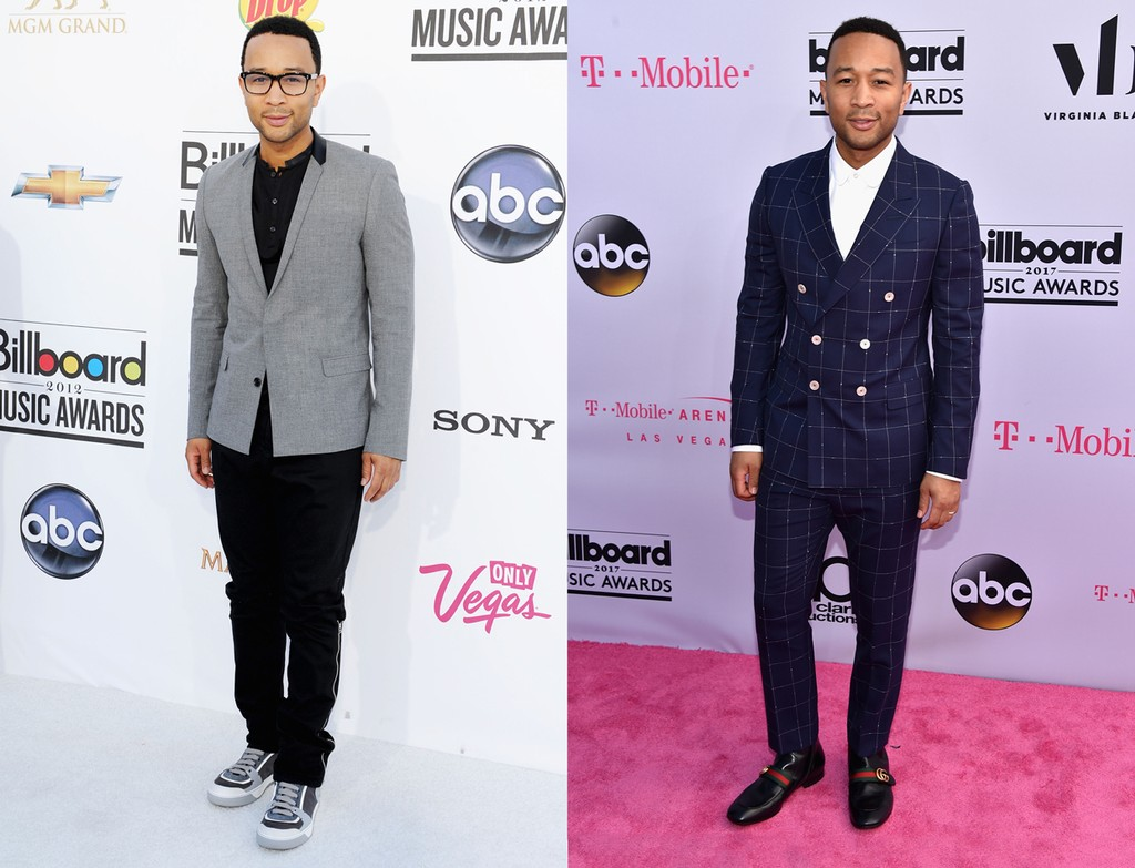 John Legend at the 2012 Billboard Music Awards (left); 2017 Billboard Music Awards (right)