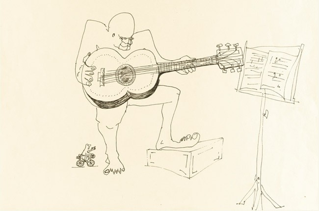 UNTITLED ILLUSTRATION OF A FOUR-EYED GUITAR PLAYER