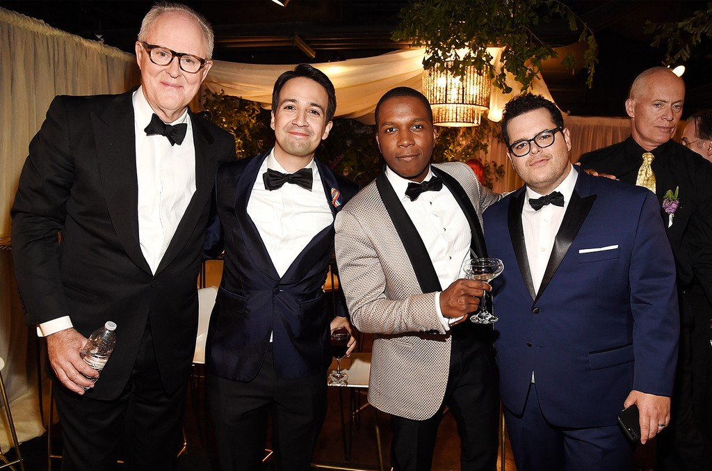 John Lithgow, Lin Manuel-Miranda, Leslie Odom Jr. and Josh Gad attend the 2017 Tony Awards at Radio City Music Hall on June 11, 2017 in New York City.