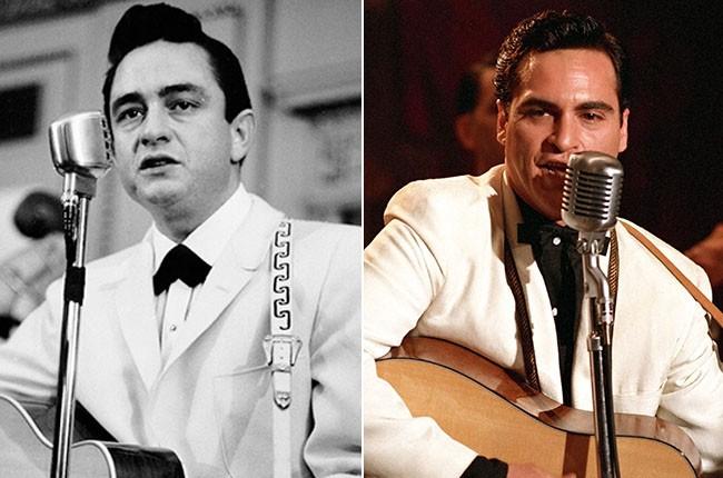 Johnny Cash and Joaquin Phoenix as Johnny Cash