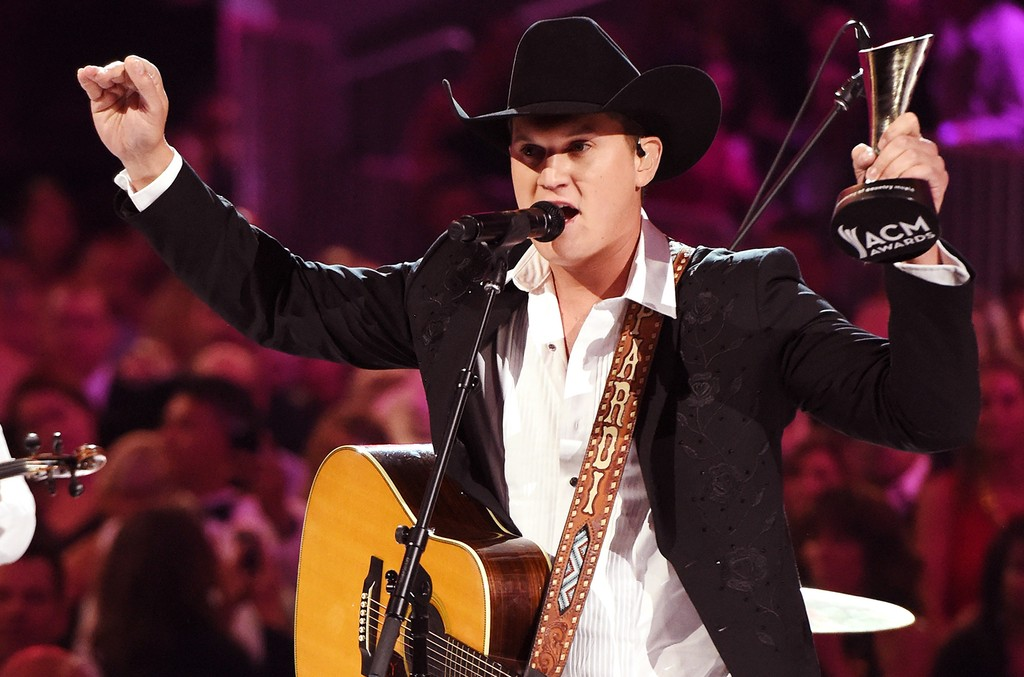 Jon Pardi accepts the New Male Vocalist of the Year award presented by T-Mobile onstage during the 52nd Academy Of Country Music Awards at T-Mobile Arena on April 2, 2017 in Las Vegas.
