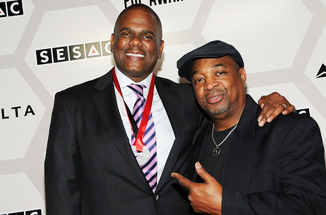 Jon Platt (L) and rapper Chuck D attend 2015 SEASAC Pop Awards at New York Public Library