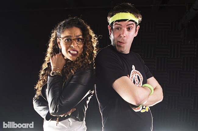 "Jordin Sparks teaches Pop Shop editor Jason Lipshutz how to ""Double Tap"" in the video series ""So You Know You Can't Dance."" 2015"