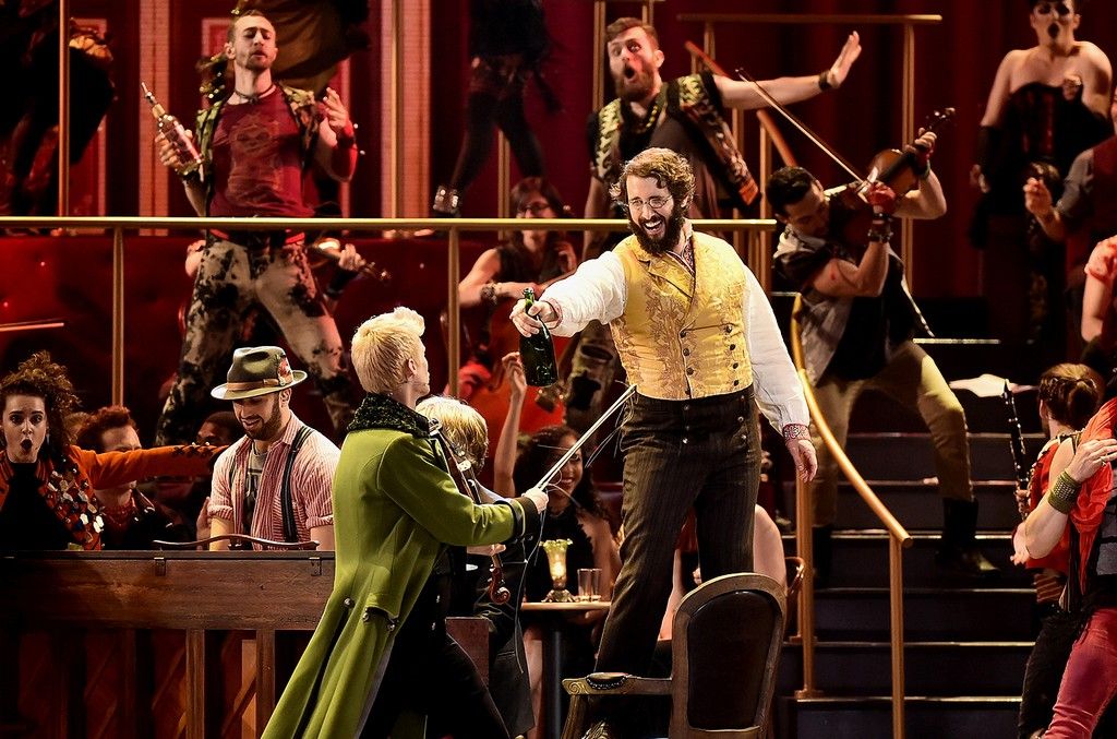 Lucas Steele and Josh Groban perform onstage with the cast of 'Natasha, Pierre and The Great Comet of 1812' onstage during the 2017 Tony Awards at Radio City Music Hall on June 11, 2017 in New York City.