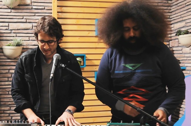 Josh Groban and Reggie Watts make music