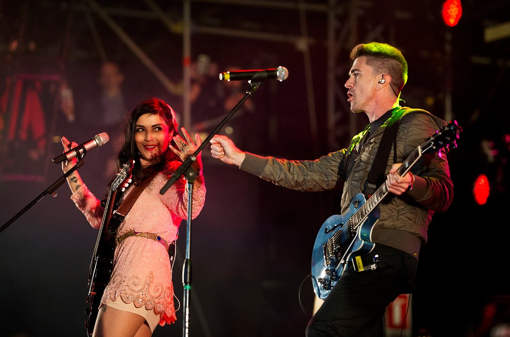 Mon Laferte and Juanes perform onstage at the Vive Latino Music Festival on March 19, 2017 in Mexico City, Mexico.