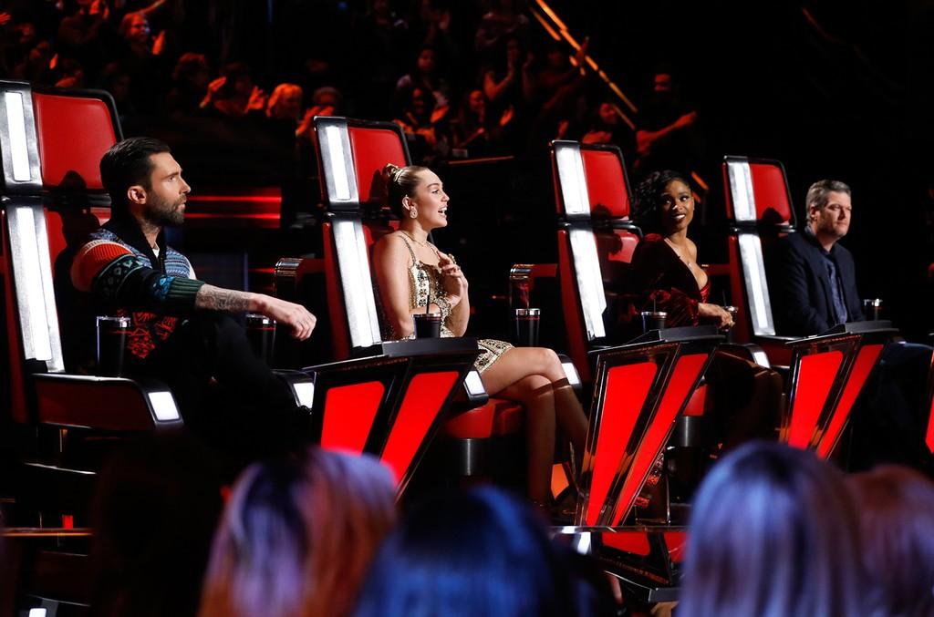 Adam Levine, Miley Cyrus, Jennifer Hudson, and Blake Shelton