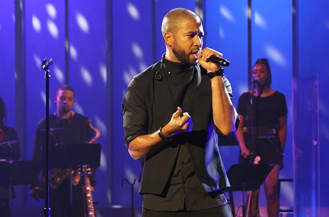 Jussie Smollett performing during TV One's season five taping of Verses and Flow