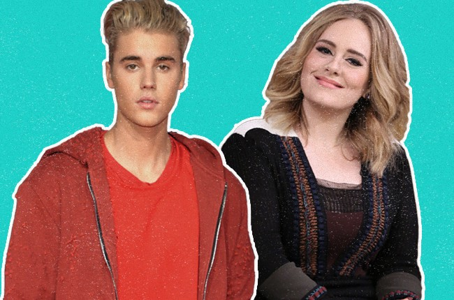 Justin Bieber and Adele