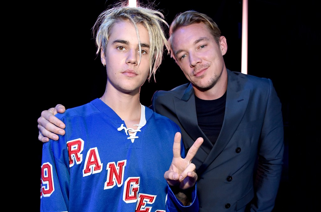 Justin Bieber and Diplo at the iHeartRadio Music Awards