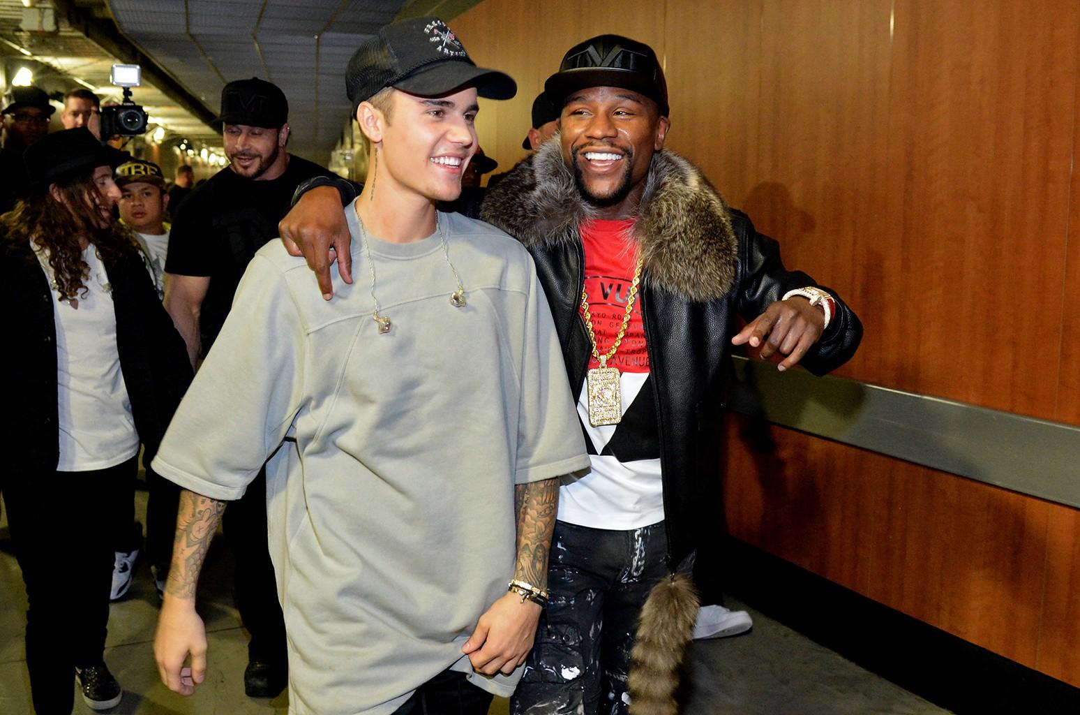 Justin Bieber and Floyd Mayweather Jr.