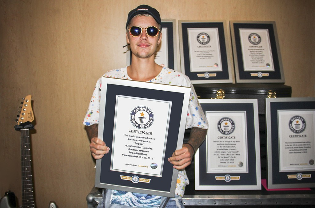 Justin Bieber is presented by Guinness World Records