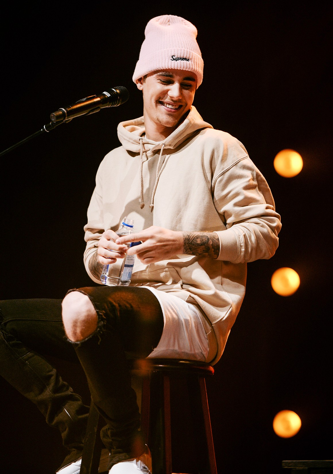 Justin Bieber performs on stage during 'An Acoustic Evening With Justin Bieber' at The Danforth Music Hall on Dec. 7, 2015 in Toronto, Canada.