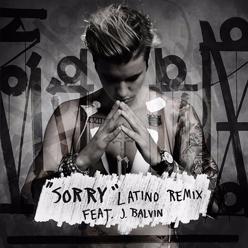 """Justin Bieber feat. J. Balvin for """"Sorry"""" Latino Remix, 2015."""