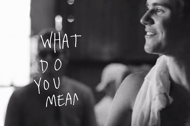 "Justin Bieber's lyric video for ""What Do You Mean?"""