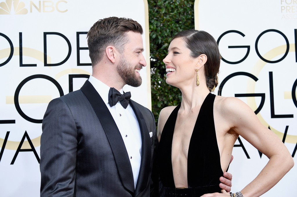 Justin Timberlake and Jessica Biel attend the 74th Annual Golden Globe Awards