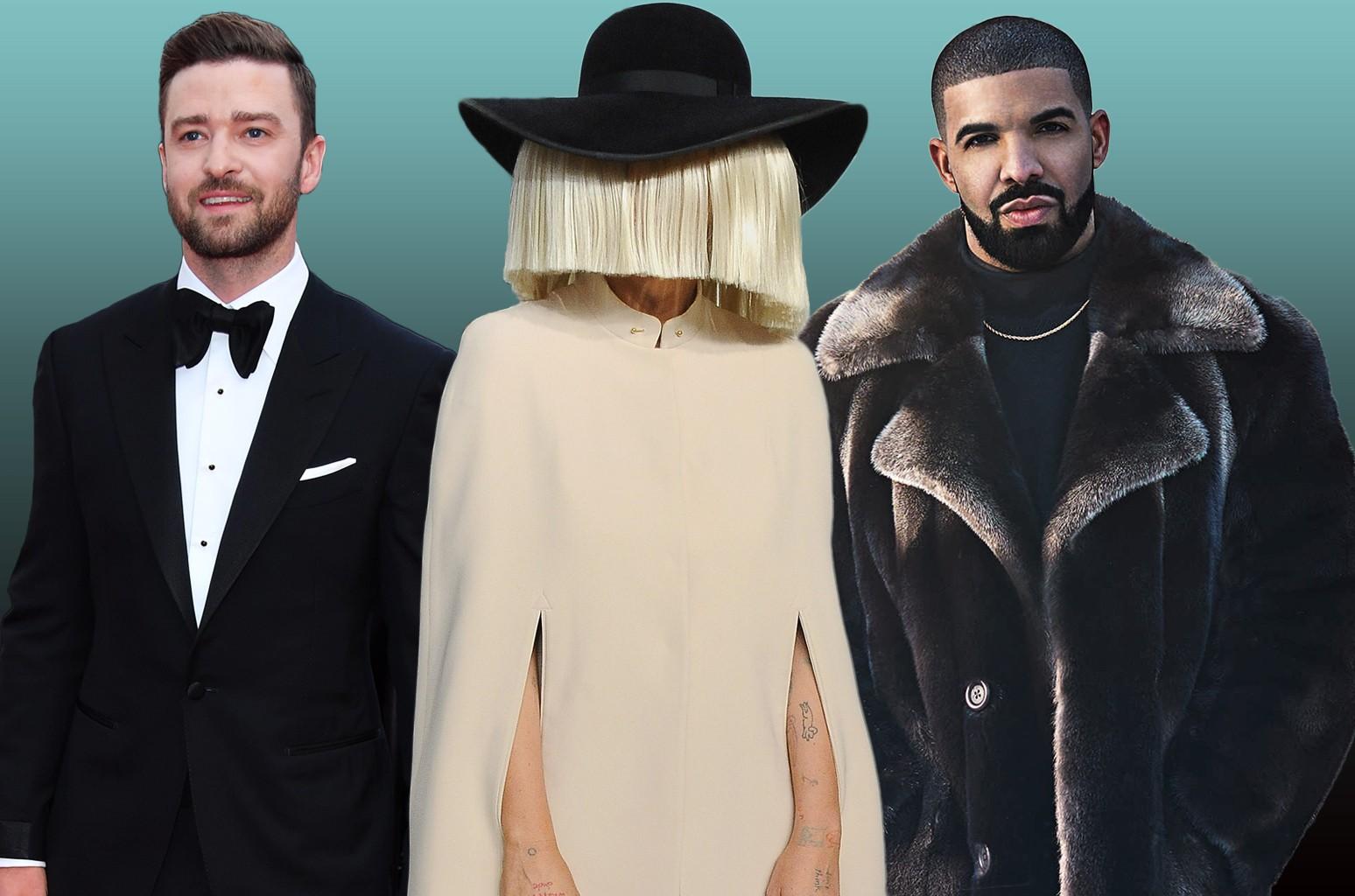 Justin Timberlake, Sia and Drake.
