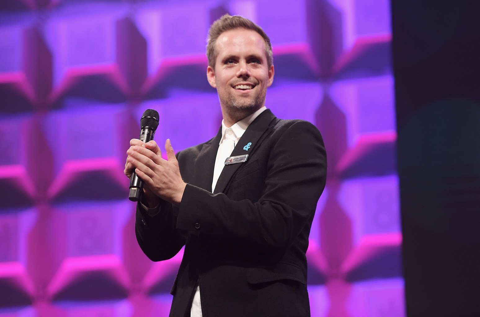 Justin Tranter speaks on stage at the 28th Annual GLAAD Media Awards at The Hilton Midtown on May 6, 2017 in New York City.