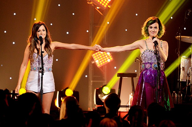 Kacey Musgraves and Katy Perry perform during CMT Crossroads