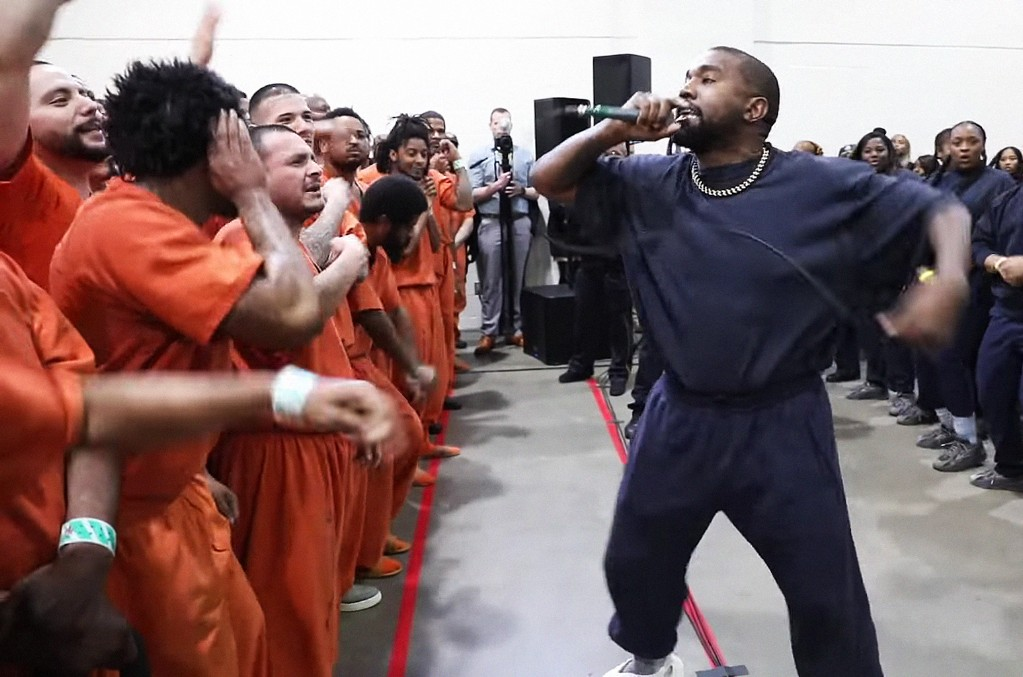 Kanye West performs for inmates at Harris County Jail
