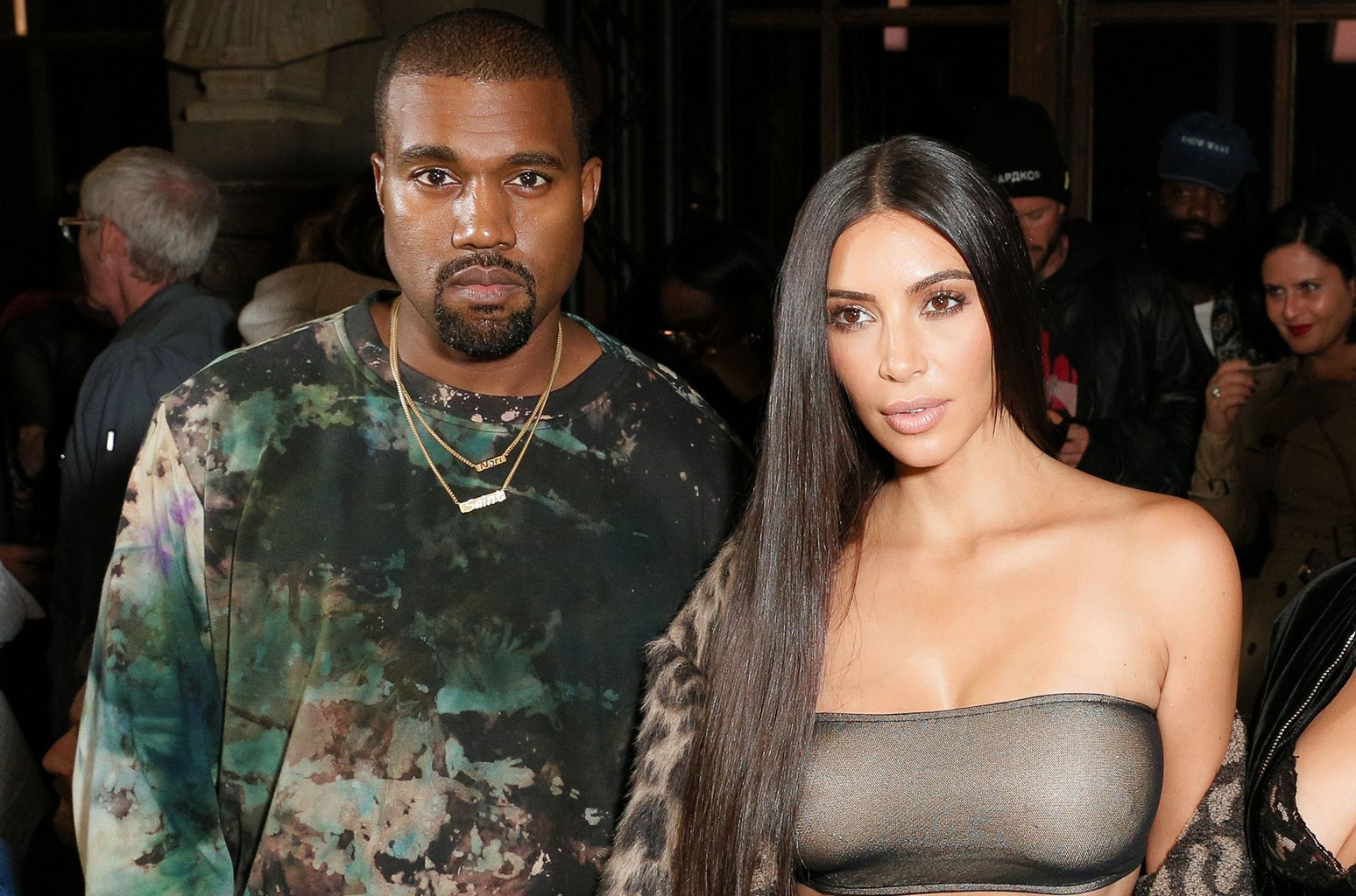 Kanye West and Kim Kardashian at Virgil Abloh's Off-White show