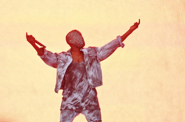Kanye West performs on stage at Wireless Festival at Finsbury Park on July 4, 2014