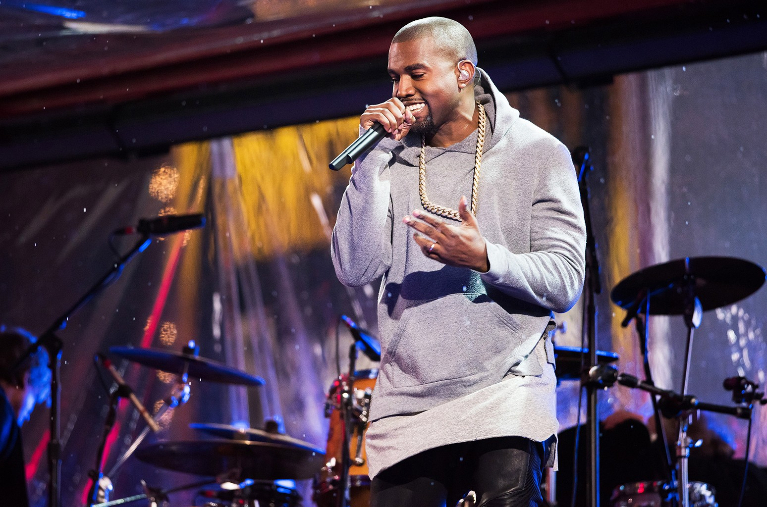 Kanye West performs during the World AIDS Day (RED) concert on Dec. 1, 2014 in New York City.