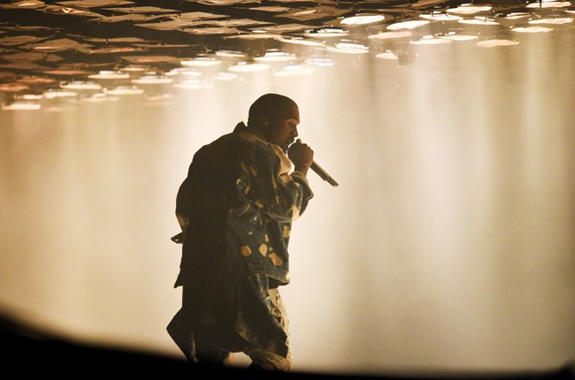 Kanye West performs on the Pyramid Stage at the Glastonbury 2015