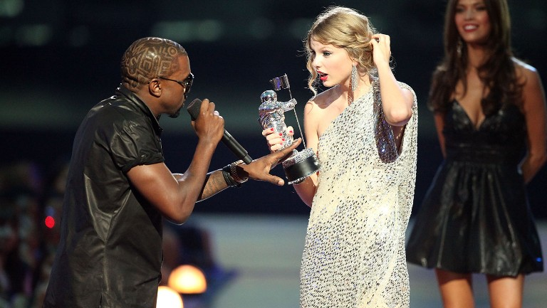 <p>Kanye West and Taylor Swift during the 2009 MTV Video Music Awards at Radio City Music Hall on Sept. 13, 2009 in New York City.&nbsp&#x3B;&nbsp&#x3B;</p>
