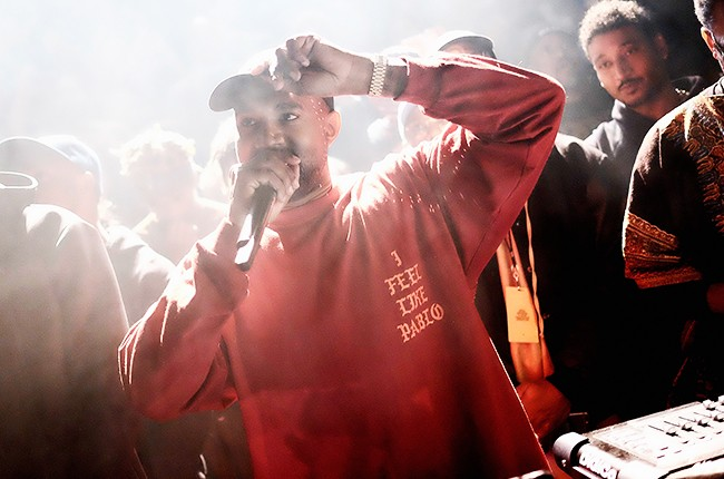 Kanye West performs during Kanye West Yeezy Season 3 presentation and The Life of Pablo? listening session on Feb. 11, 2016 in New York City.