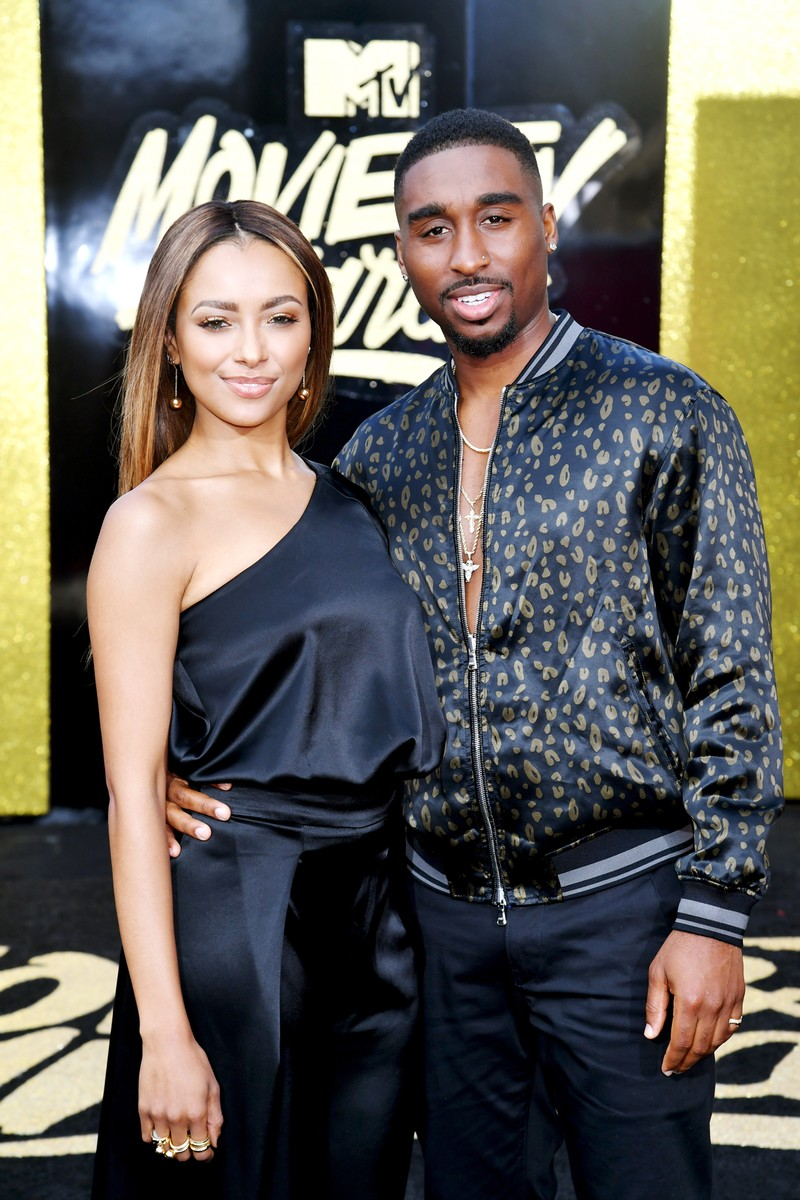 Kat Graham and Demetrius Shipp Jr. attend the 2017 MTV Movie and TV Awards at The Shrine Auditorium on May 7, 2017 in Los Angeles.