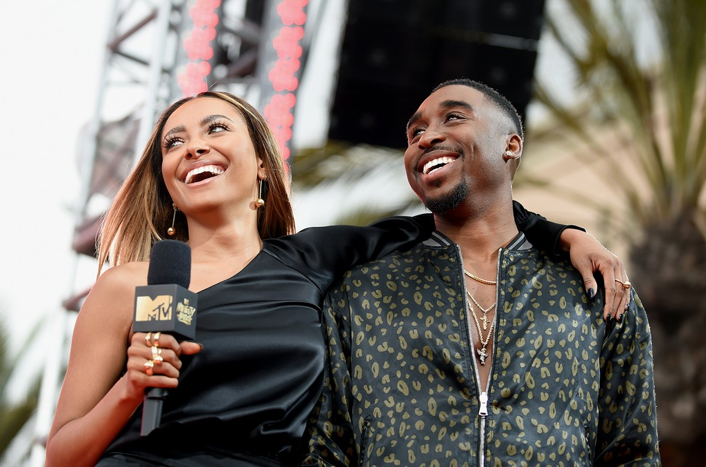 Kat Graham and Demetrius Shipp Jr. onstage at the 2017 MTV Movie and TV Awards at The Shrine Auditorium on May 7, 2017 in Los Angeles.