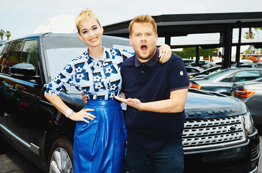 Katy Perry performs a Carpool Karaoke during The Late Late Show with James Corden on May 22, 2017.