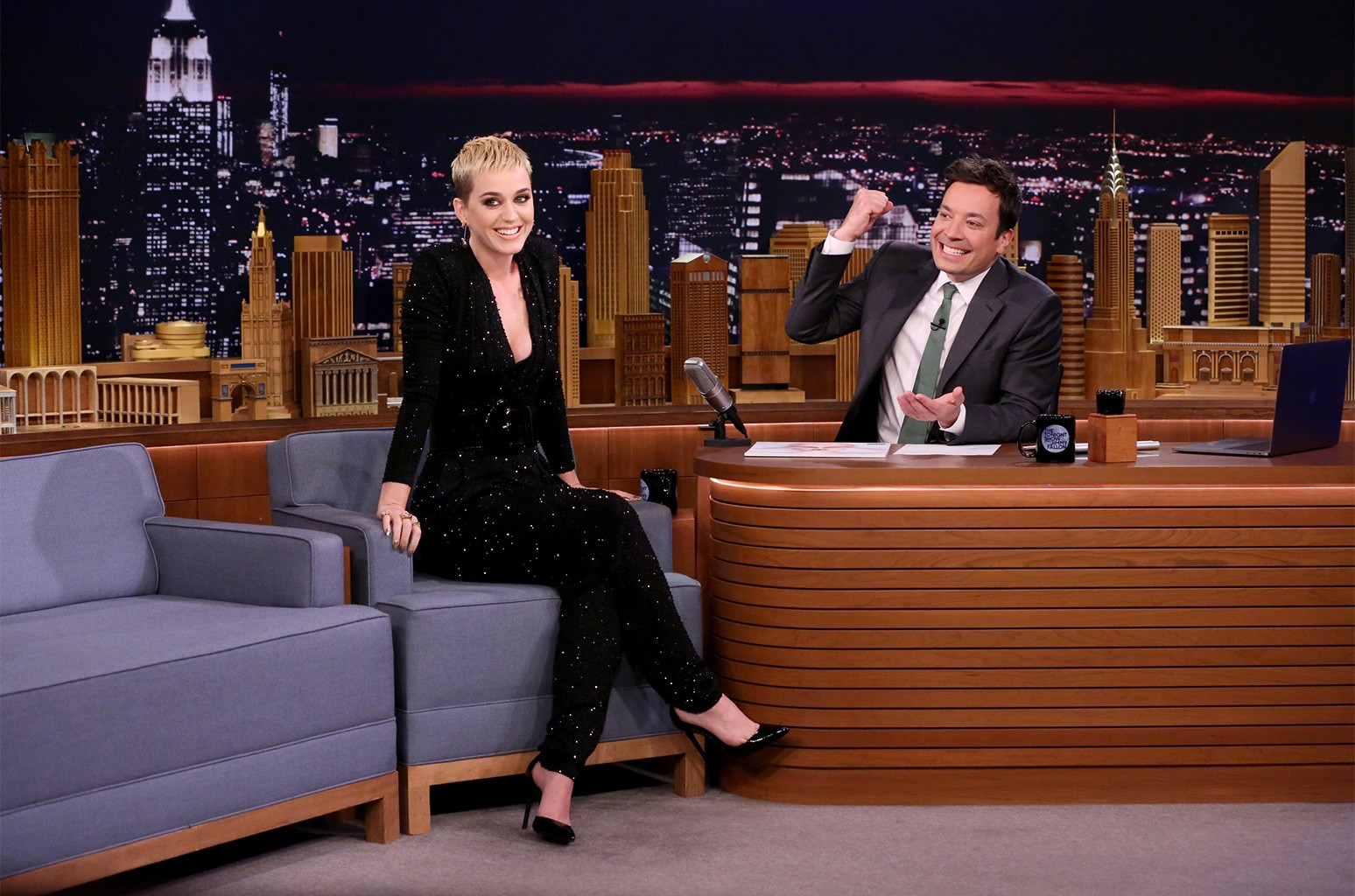 Katy Perry during interview with host Jimmy Fallon on The Tonight Show Starring Jimmy Fallon on May 19, 2017.