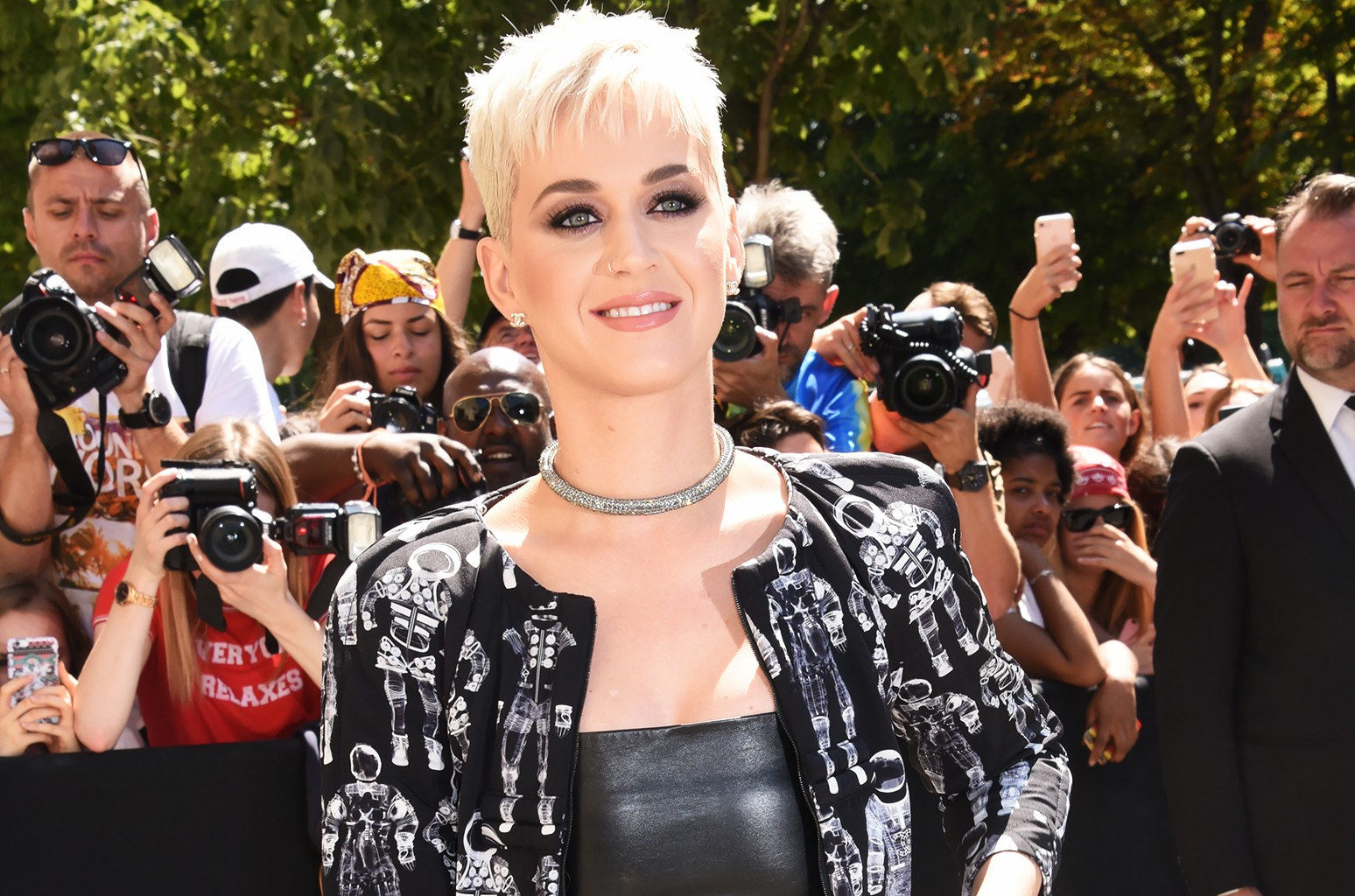 Katy Perry attends the Chanel Haute Couture Fall/Winter 2017-2018 show as part of Paris Fashion Week on July 4, 2017 in Paris.
