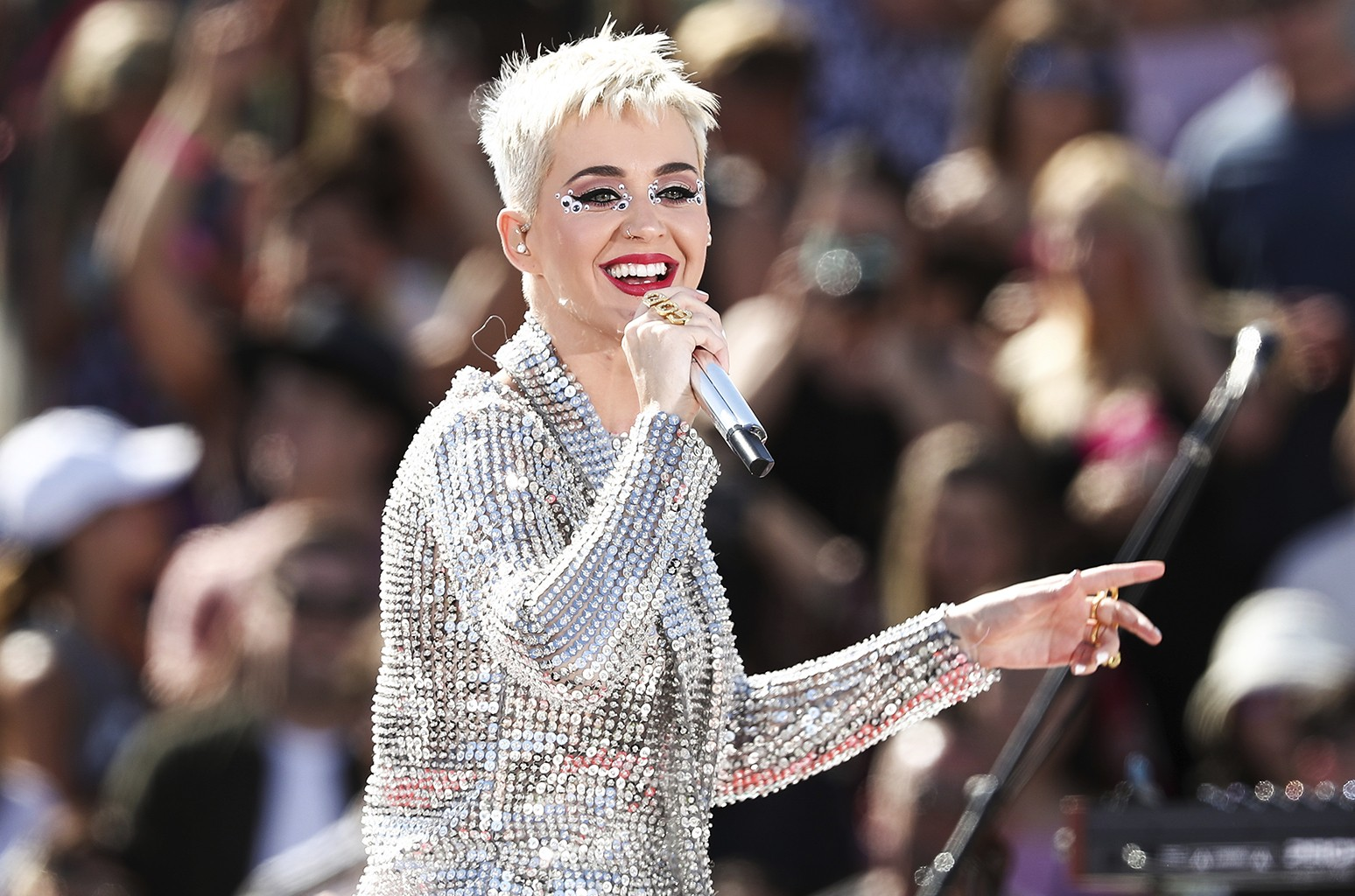Katy Perry performs during 'Katy Perry - Witness World Wide' exclusive YouTube Livestream Concert at Ramon C. Cortines School of Visual and Performing Arts on June 12, 2017 in Los Angeles.