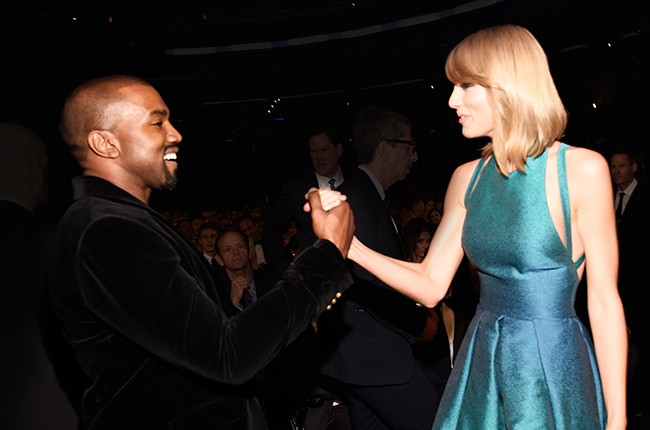 Kanye West and Taylor Swift together at the 2015 Grammy Awards on Feb. 8, 2015 in Los Angeles.