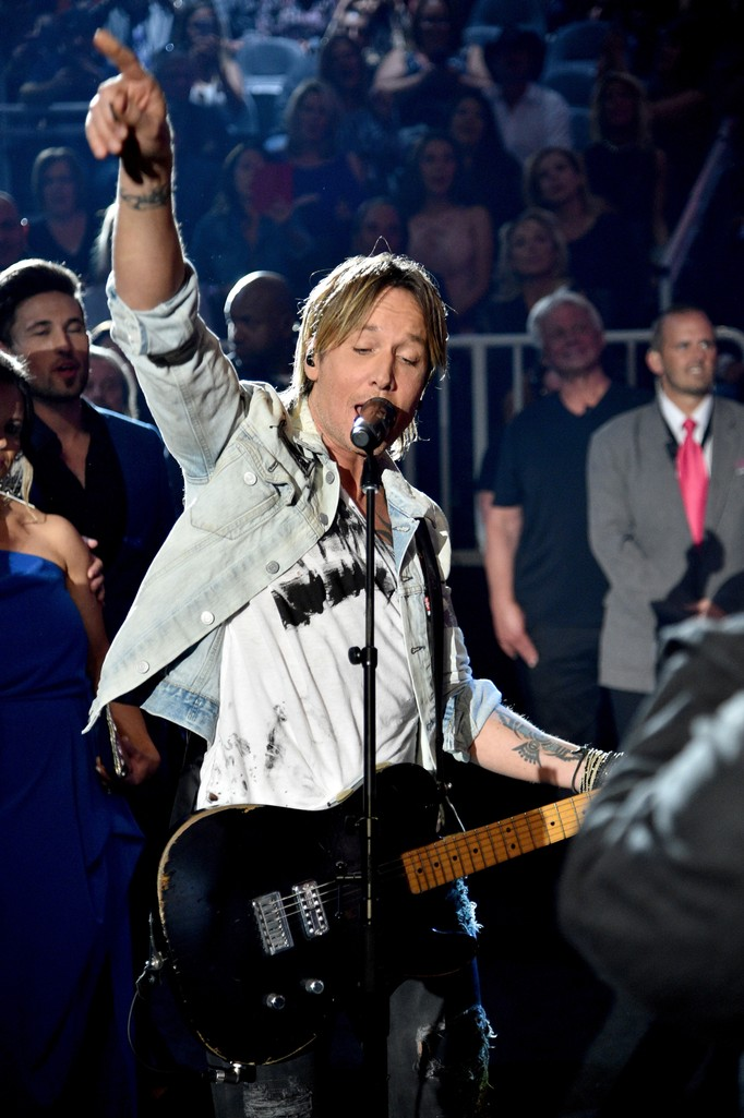 Keith Urban performs during the 52nd Academy Of Country Music Awards at T-Mobile Arena on April 2, 2017 in Las Vegas.