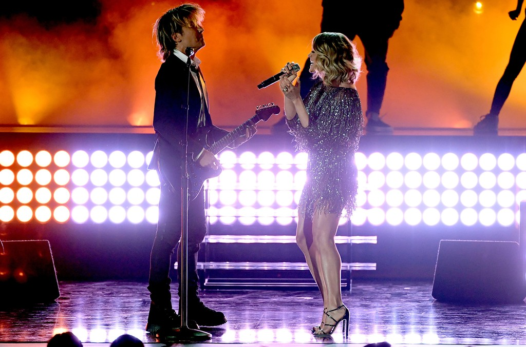 Keith Urban and Carrie Underwood perform onstage during the 52nd Academy Of Country Music Awards at T-Mobile Arena on April 2, 2017 in Las Vegas.