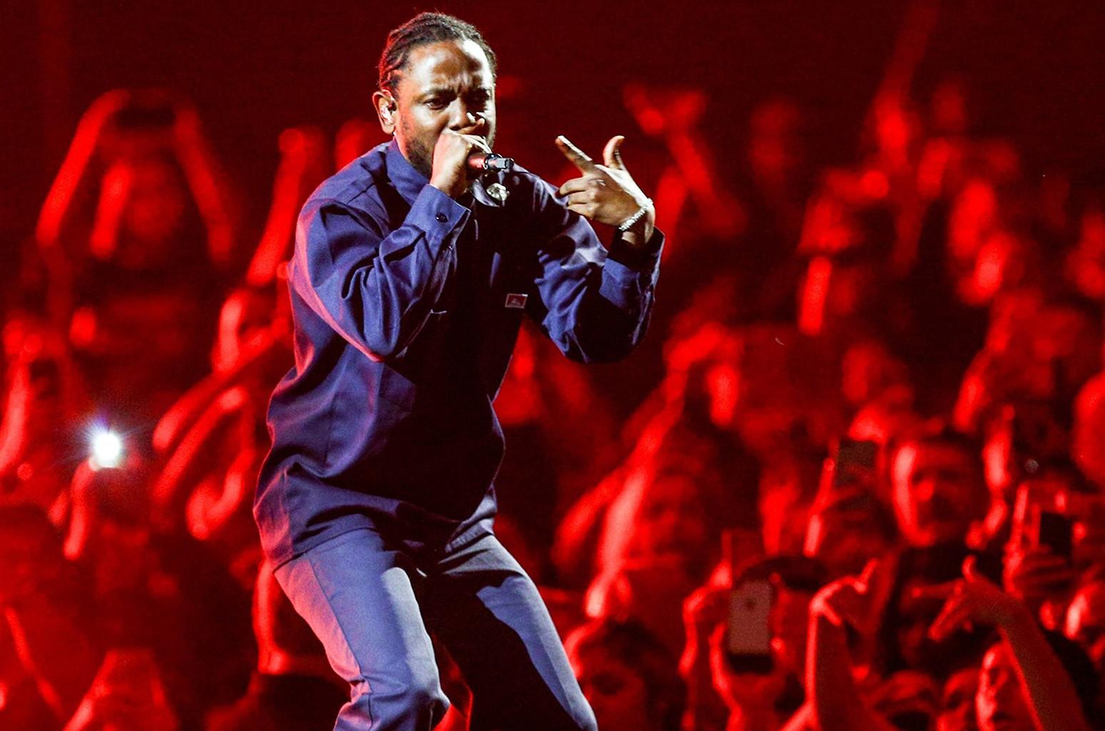 Kendrick Lamar performs on April 29, 2017 at The Forum in Inglewood, Calif.